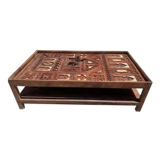 Custom Hand-Carved Moroccan Door Coffee Table For Sale