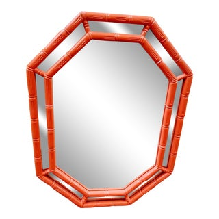 Vintage Octagonal Palm Beach Regency Lacquered Tomato Orange Faux Bamboo Wall Mirror For Sale