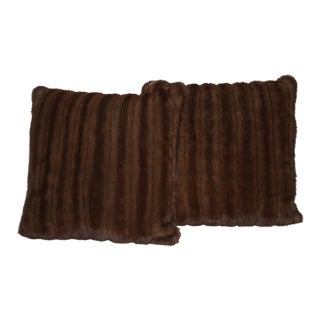 Dark Brown Mink Pillows - a Pair