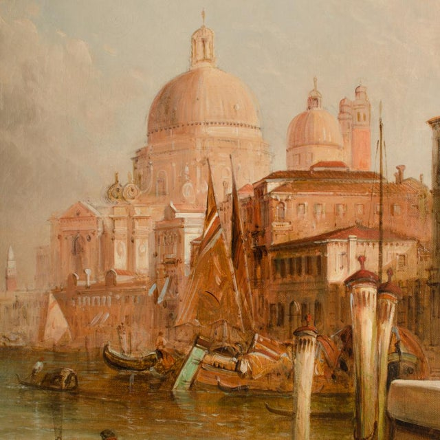 "Canvas Late 19th Century ""S. Maria Della Salute, Venice"" Oil Painting by Alfred Pollentine, Framed For Sale - Image 7 of 12"
