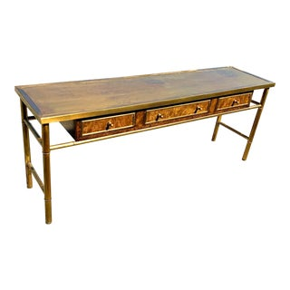 1970s Brass & Burl Wood Mastercraft Console For Sale