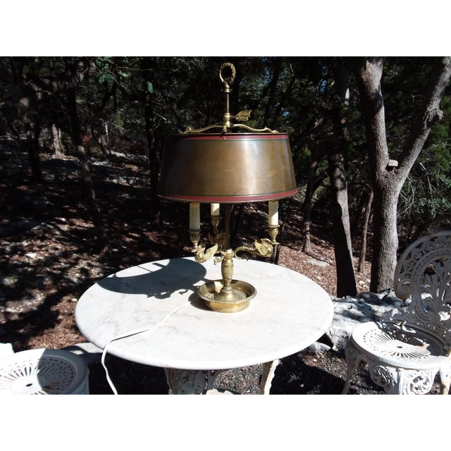 Brass Antique French Bouillotte Lamp With Swan Heads For Sale - Image 8 of 9