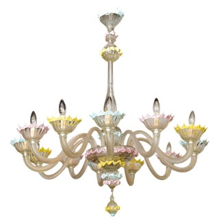 Fine Pair of Barovier & Toso Clear and Colored Glass 12-Light Chandeliers, 1940s For Sale