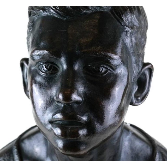 Life Sized Cast Bronze Young Boy Bust on Oval Base For Sale - Image 4 of 8