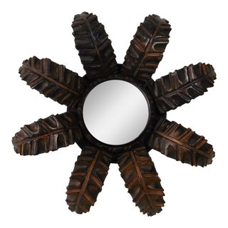 French Wood Leaves Sunburst Mirror For Sale