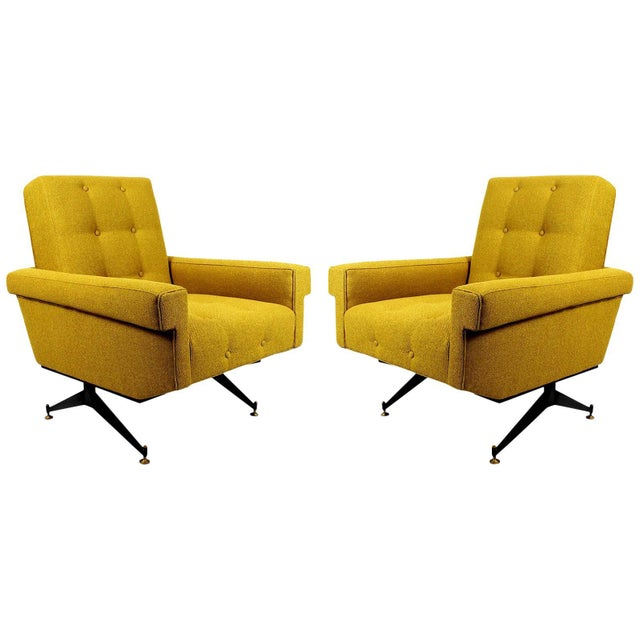 1960s Pair of Padded Armchairs, Yellow Upholstery, Steel, Brass - Italy For Sale - Image 11 of 11