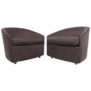 Pair of Stylish Mid-Century Modern Barrel Back Lounge Chairs After Milo Baughman For Sale
