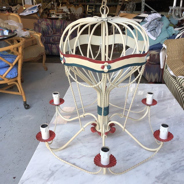 1950s Italian Tole Hot Air Balloon Chandelier For Sale - Image 9 of 9