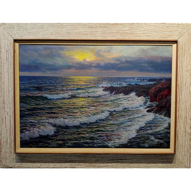 Vartan Mahokian - Seascape Magic Sunset - Oil painting - c.1920s oil painting on canvas -Signed circa 1920s recently...