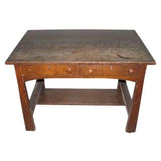 Tiger Oak Arts & Crafts Desk For Sale