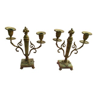 Late 19th Century Brass and Agate Candelabras- A Pair For Sale