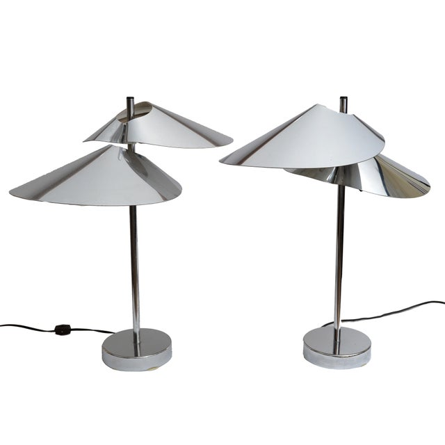 Curtis Jere Double Sided 'Visor' Table Lamps in Chrome, A Pair For Sale - Image 9 of 10