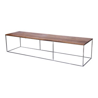 Mid-Century Walnut Coffee Table With Iron Base For Sale