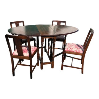 Antique Drop-Leaf Dining Room Table and 4 Chairs For Sale