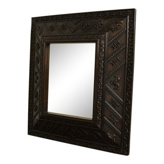 Henredon Ralph Lauren Large Carved Wood Frame Antique Mirror For Sale