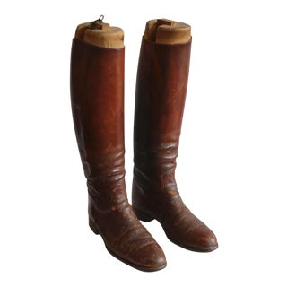 Early 20th Hand Made Leather Boots and Inserts c. 1920-1940 For Sale