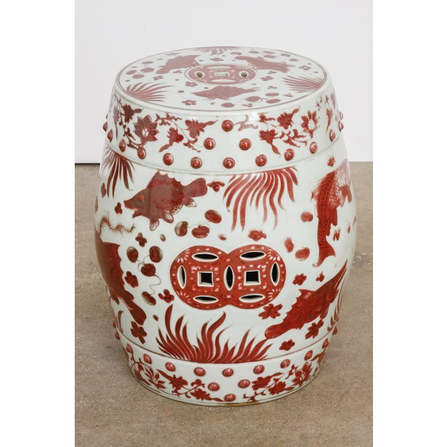 Chinese Ceramic Aquatic Life Garden Stools or Drink Tables - a Pair For Sale - Image 9 of 13