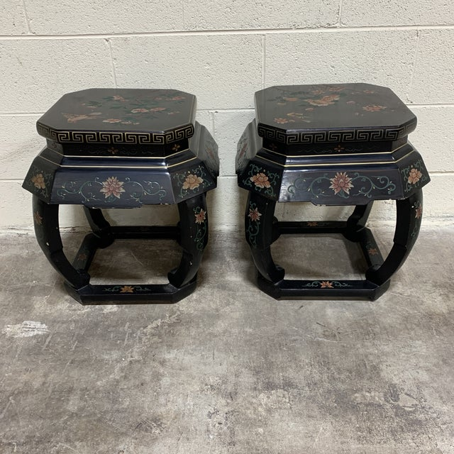 20th Century Chinese Black Lacquer Side Table Stools For Sale - Image 12 of 12
