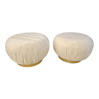 Pair of Karl Springer Style Oversized Ottoman or Poufs, Soufflé For Sale