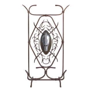 Large Sculptural Wrought Iron Stand W/ Stylized Shield For Sale