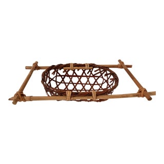 20th Century Organic Modern Woven Hand Tied Basket For Sale