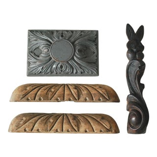 Carved Wood Architectural Salvage Pieces - Set of 4 For Sale