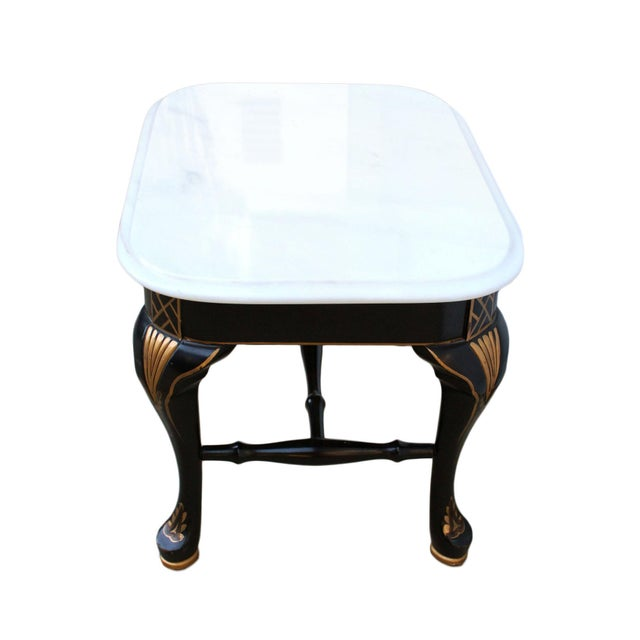 Drexel Drexel Chinoiserie Black & Gold Side Table Pair With White Marble Tops, a Pair For Sale - Image 4 of 10