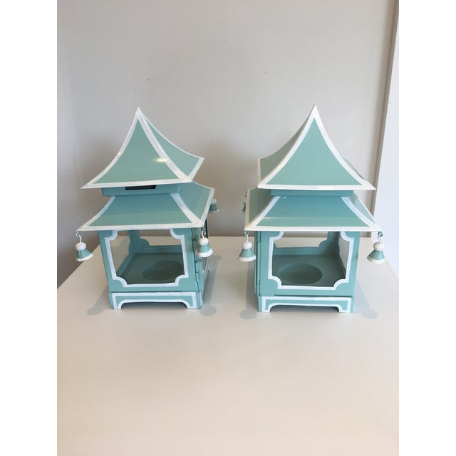 Blue Pagoda Candle Lanterns - A Pair - Image 2 of 4