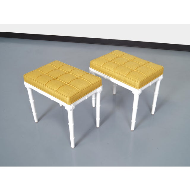 Fabric Vintage Faux Bamboo Stools For Sale - Image 7 of 8