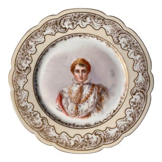 Mid 19th Century Neoclassical Handpainted Napoleon Severes Chateau Des Tuileries France Plate For Sale