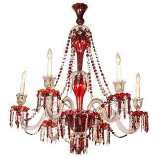19th Century English Crystal Chandelier For Sale