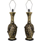 Image of Pair of Bronze Brutalist Style Pierced Table Lamps For Sale