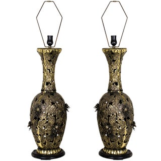 Pair of Bronze Brutalist Style Pierced Table Lamps For Sale