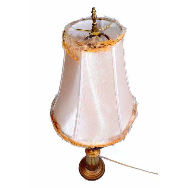 Metal Italian Brass and Glass Table Lamp With Shade For Sale - Image 7 of 10