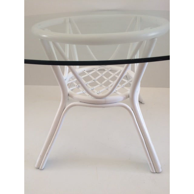 1960s Vintage Hollywood Regency White Rattan Base Dining Table For Sale - Image 4 of 10