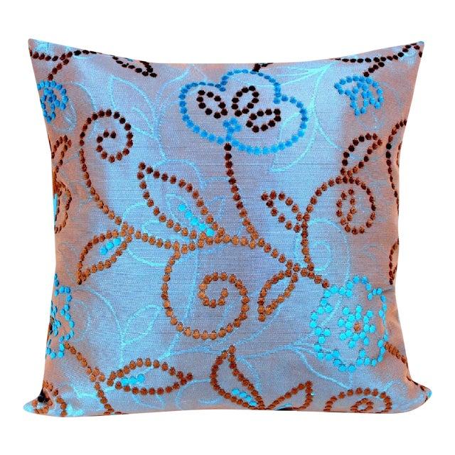 Vintage Floral Handwoven Varanasi Brocade Reversible Pillow For Sale