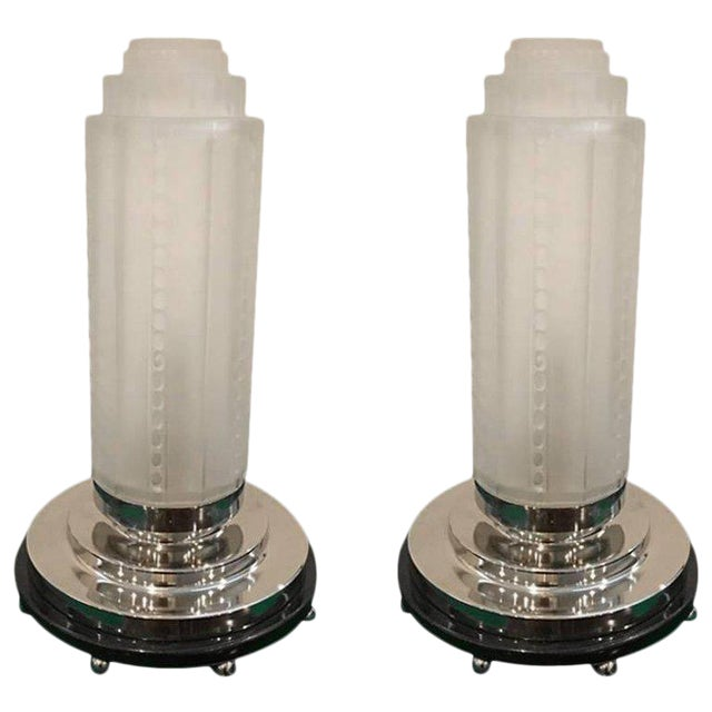 French Art Deco Table Lamps by Genet Et Michon With Marble Base - a Pair For Sale