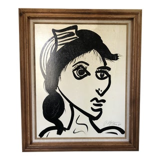 "1980's Vintage ""White Female"" Painting by Peter Keil For Sale"