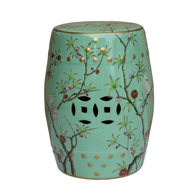 Asian Handmade Pastel Blue Green Porcelain Bird Flower Round Stool Ottoman For Sale - Image 3 of 7