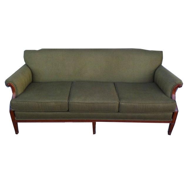 Hollywood Regency Vintage Wood Trimmed Sofa - Image 6 of 7