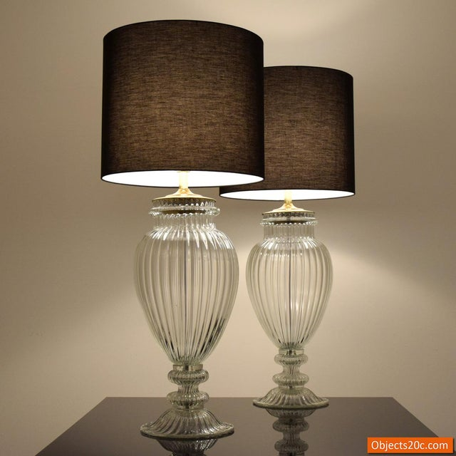 Blown Glass Vintage Mid Century Barovier & Toso Style Monumental Murano Lamps- A Pair For Sale - Image 7 of 9