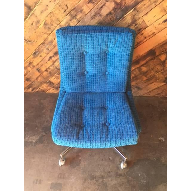 Vintage Reupholstered Rolling Office Chair - Image 6 of 6
