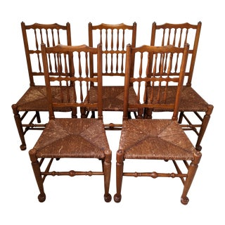 1930s L. & J. G. Stickley Early American Dining Chairs - Set of 5 For Sale