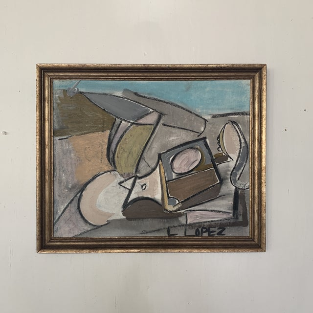 Tan 1980s Framed Charcoal Abstract Drawing For Sale - Image 8 of 13