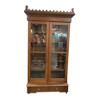 19th Century Gothic Revival Cabinet With Glass Door For Sale