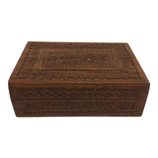 Antique Intricate Hand Carved Indian Teakwood Box