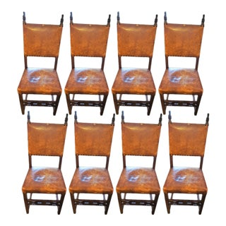 Spanish Leather Dining Chairs - Set of 8 For Sale