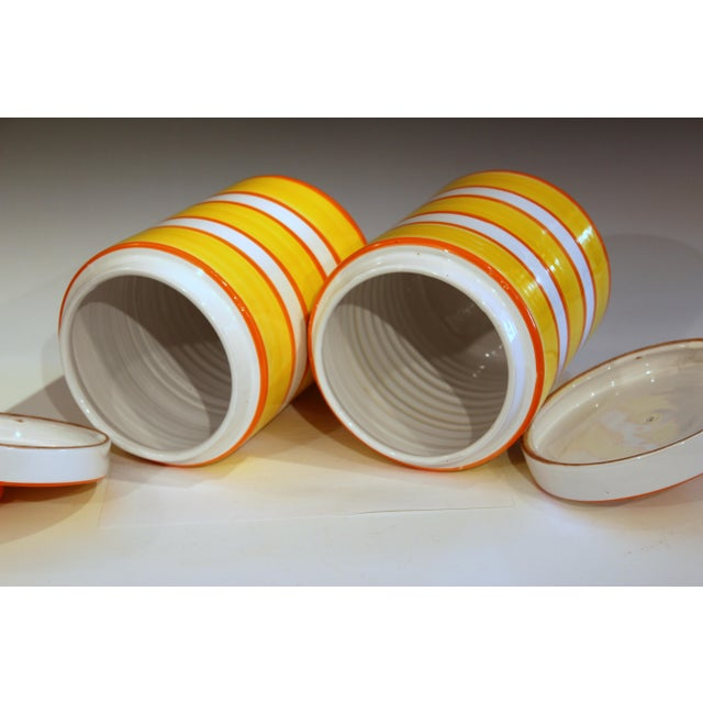 Italian Pottery Stripes Vintage Raymor Canisters - a Pair For Sale - Image 4 of 12