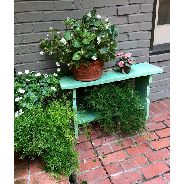 1800s French Country Farmhouse Painted Bucket Bench For Sale - Image 11 of 12