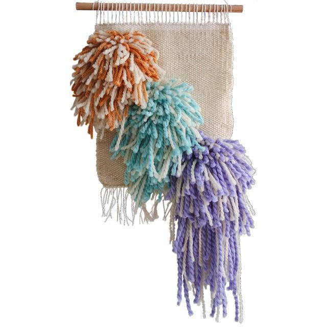 Handwoven Mustard Turquoise & Purple Wall Hanging - Image 1 of 3